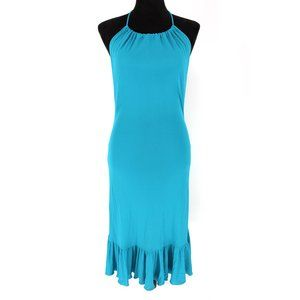 Céline Halter Ruffle Hem Sleeveless Dress Teal 40